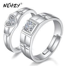 NEHZY Nuove signore di modo di coppia anello In argento Sterling S925 di cristallo retro apertura anello a forma di cuore monili popolari