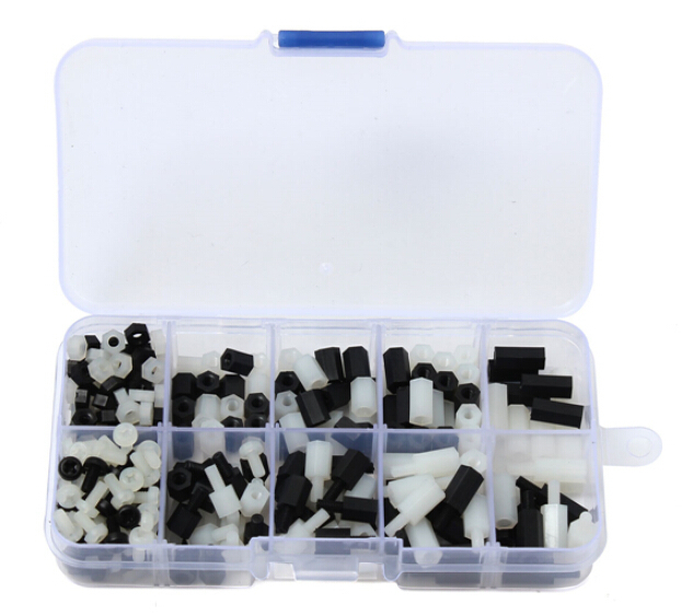 300pcs M3 Nylon Hex Stand-off Spacers Screw Nuts Assortment Set With Box White