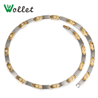 Wollet Jewelry 48 Cm Healing Energy CZ Stone Gold Color Germanium Tourmaline Magnetic Stainless Steel Necklace For Women