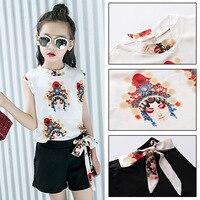 2018 New Toddler Girls Clothing Set Kids Clothes Chinese Style Sleeveless Black White Shirt Shorts Teens