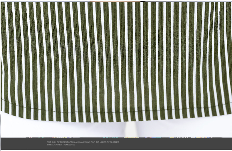 Women Casual Shirts Vertical Stripe Blouses Woman Three Quater Sleeve Top Mother Leisure Shirt Green Black Khaki Stripes Blouse (16)