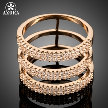 AZORA New Fashion Three Row Luxury Cubic Zirconia Ring for Women Wedding Party Jewelry Cocktail Ring Valentine's Day Gift TR0173