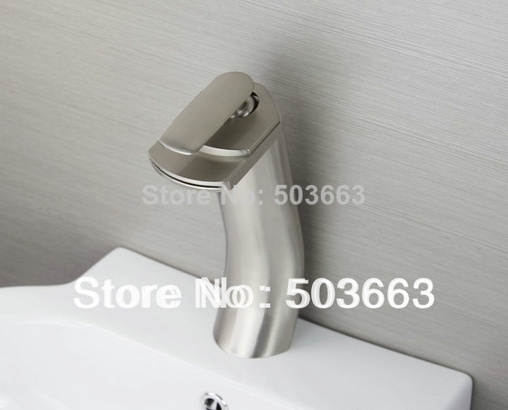 Shine Deck Mounted Nickel Brushed Bathroom Basin Sink Waterfall Faucet Vanity Mixer Tap L-6031 Mixer Tap Faucet oasis gh 80n