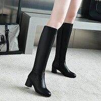 Lapolaka Big Size 31 45 Fashion Knee High Boots chunky Heels Add Warm Plush Winter Riding Boots Women Shoes Woman Black White