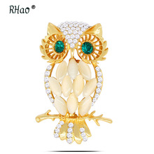 RHao Luxury Crystal Opal Owl Brooches Gold color Green Eyes owl animal jewelry pins women men