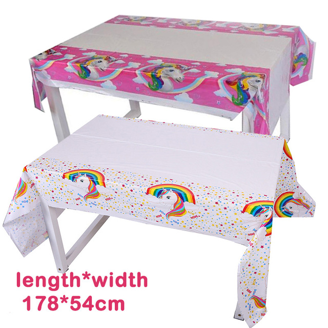 Pink Unicorn Party Plastic Tablecloth Unicornio White Tablecover 1st Birthday Table Decoration Eenhoorn Favor Supplies