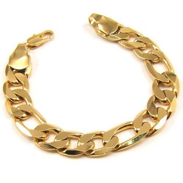 Figaro Chain  24ct Yellow Gold Filled Mens Bracelet Wrist Chain Link 9""