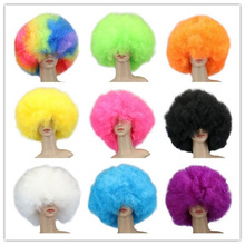QQXCAIW Short Culry Cosplay Party Red Green Puprle Pink Black Blue Brown Brown Yellow Yellow Blonde Dance Afro Wigs