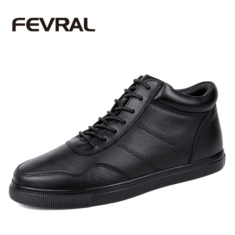 FEVRAL Men Ankle Boots Genuine Leather Black Mens Dress Boots 2018 New Men Formal Shoes Winter Autumn Warm Boots Plus Size 36~48 цены онлайн