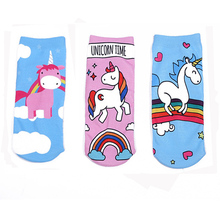 Cartoon 3D Printed Girls Unicorn Socks Kids Sock School Chlidren Ankle Socks Pink Blue mayitr 1pc sock slider aid blue helper kit helps put socks on off no bending shoe horn suitable for socks