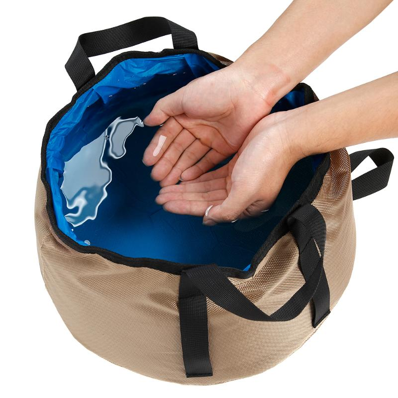 10L Portable Camping Washbasin Folding Water Bucket Hiking Travel Washing Basin Bathroom Tools
