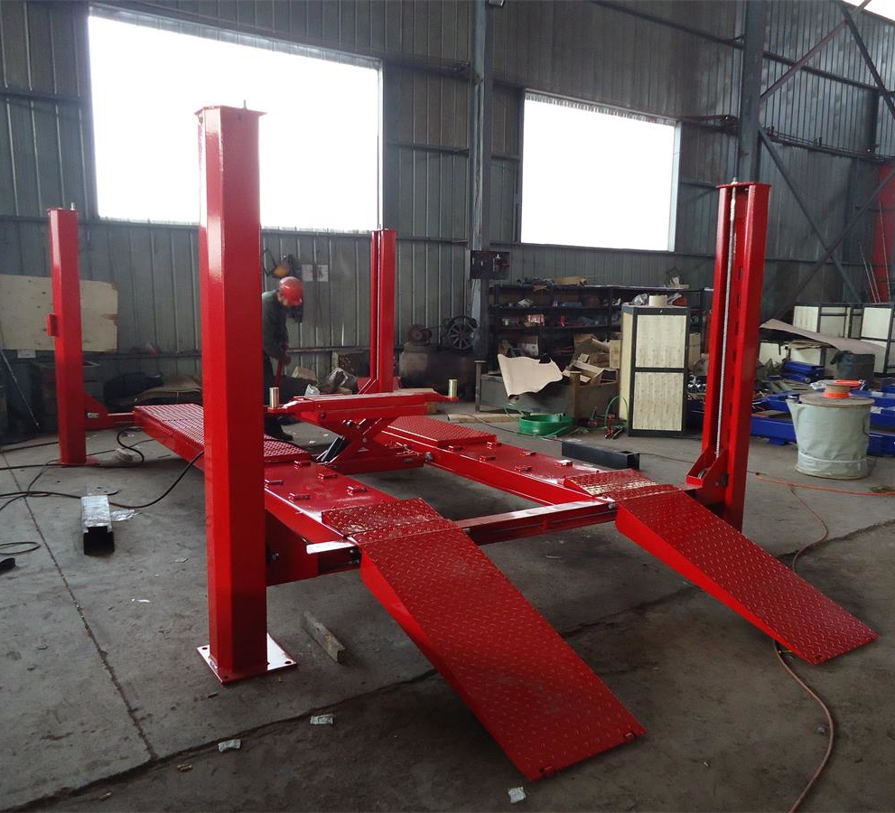 Manufacturer Supply Four Post Car Lift Can Be Used With Wheel Aligner 3500kg Second Lift Jack 2 Tons Red/Blue/Grey