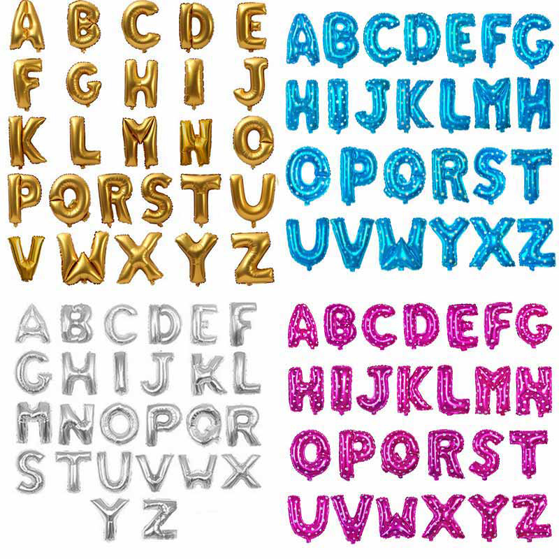 1pc 16inch pink Alphabet letters foil Balloons name baloes Birthday ...