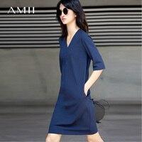Amii 2017 Summer Simple Straight Fit V Neck Half Sleeve Dress