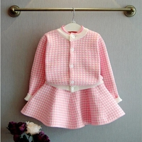 NEAT H 2017 Retail New Baby Girl Set Lattice Knitted Long Sleeved Round Neck Cardigan Fashion