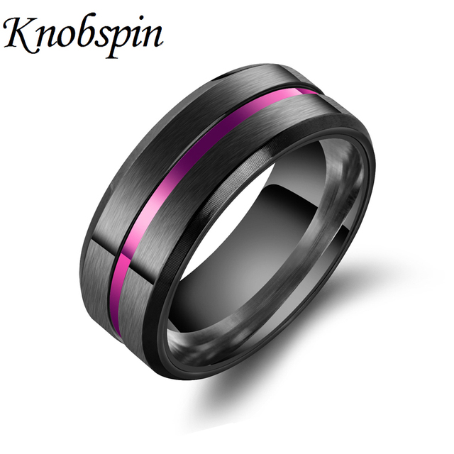 Fashion Classic Titanium Steel Groove Ring for Men 8MM Width Black/Purple/Gold/B