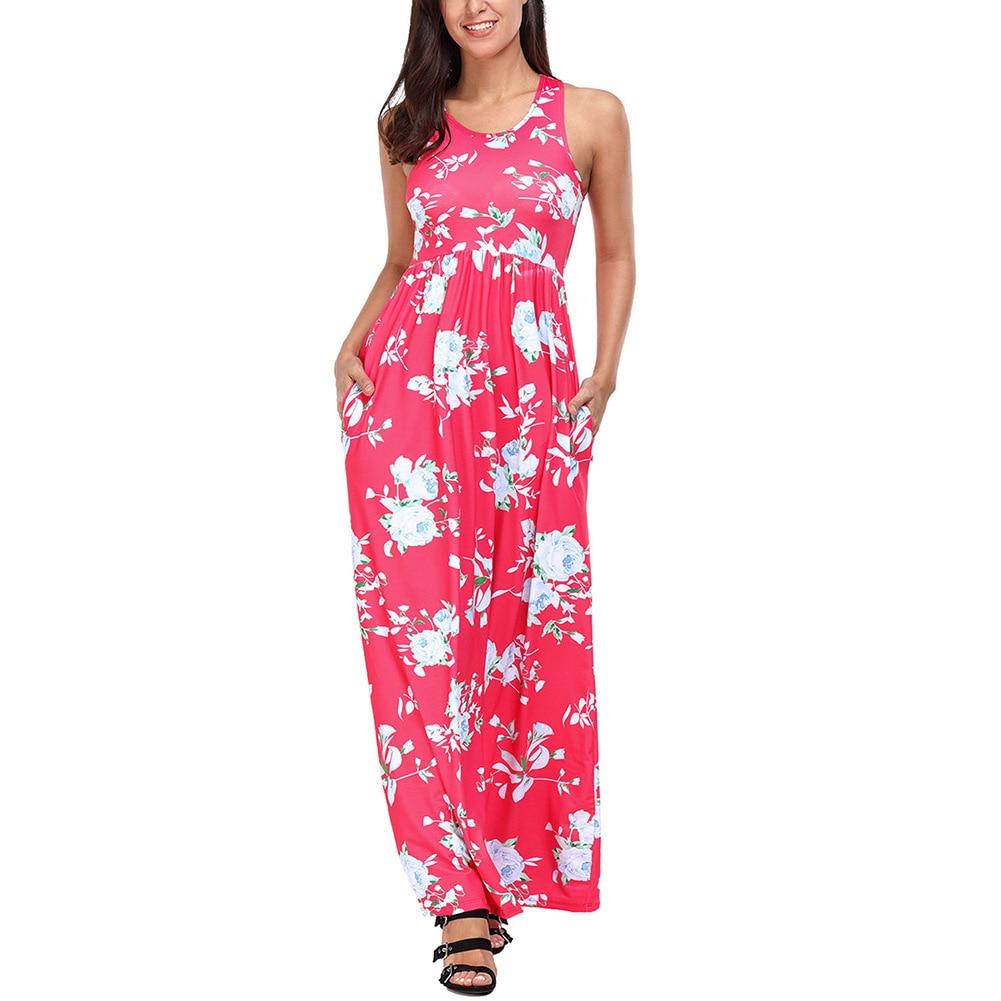 Col rond sans manches fleurs et plantes impression des deux côtés poche Posimi seconde robe