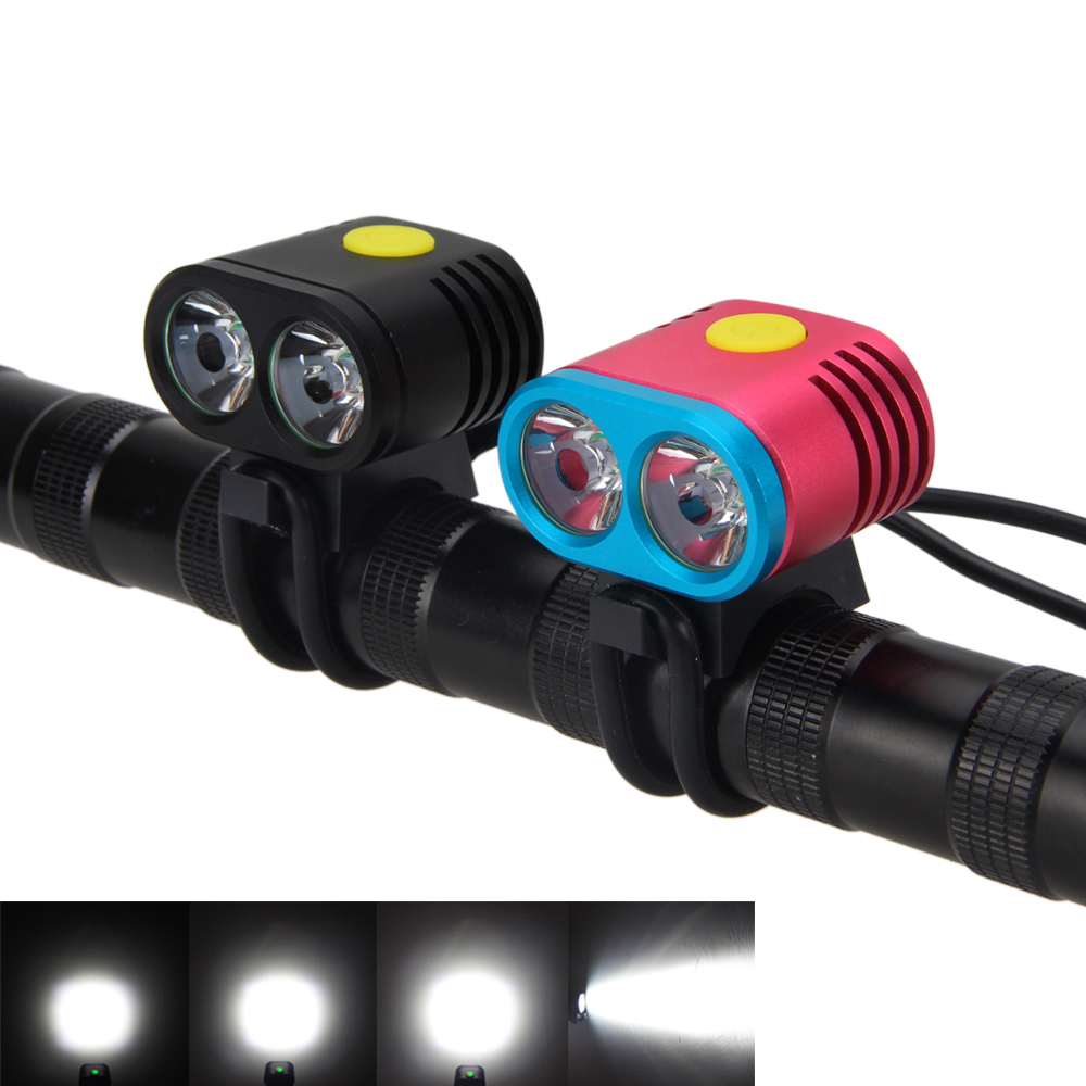 Mini 5000LM 2X XM-L2 LED Hunting 5 modes Bike Bicycle Torch Head Front Bike Light Lamp Black and Red Colors 3800 lumens cree xm l t6 5 modes led tactical flashlight torch waterproof lamp torch hunting flash light lantern for camping z93