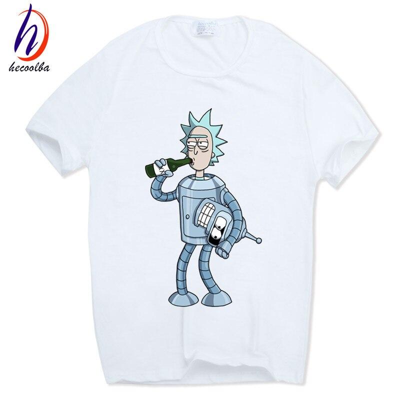 Hecoolba 2017 männer Rick und Morty Lustige Anime T-shirt Lässig kurzarm Oansatz homme Sommer Weißes t-shirt Swag T-shirt HCP134