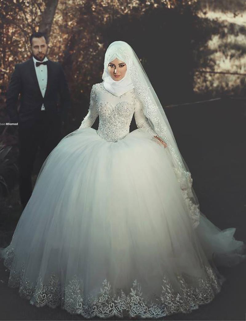 Musulman Hijab Robes De Mariée 2017 robe de Bal Col Haut À Manches Longues Robes de