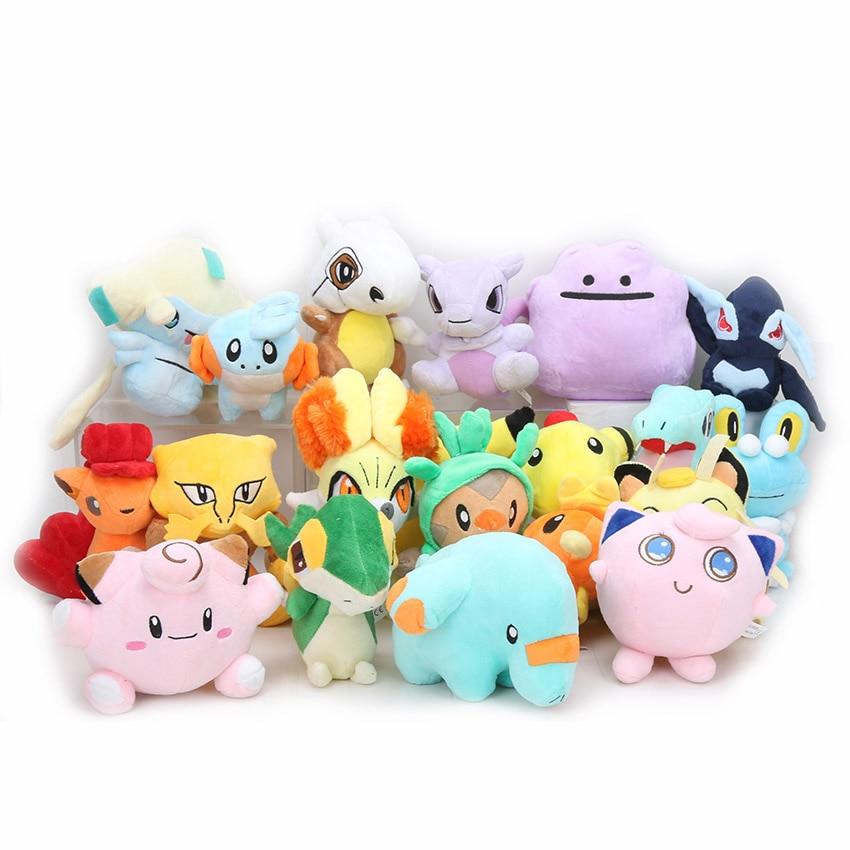 11-18cm Eevee Plush Toys Snorlax Jigglypuff Vulpix Lucario Gengar Jigglypuff Lapras Lugia Charizard Mewtwo Stuffed Plush Dolls
