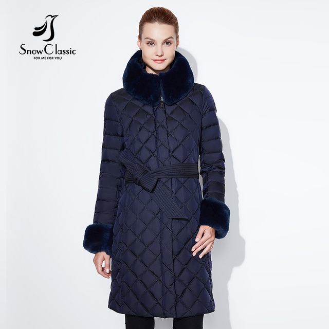 눈 클래식 2017 겨울 두꺼운 긴 단락 따뜻한 코튼 벨트 허리띠 모자 헤어 칼라 팔목 자기 재배 코트