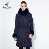 Snow Classic 2018 winter thick long paragraph warm cotton belt waistband hat hair collar cuffs self cultivation cotton coat