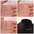 Fashion Girls Womens Fish Bone Arrow Pendant Choker Chain Stainless Steel Necklace Xmas Gift Jewelry Silver Rose Gold Tone