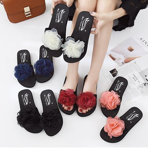 f8497ef4e76df7 Flower decoration woman flipflops floral designer slippers woman beach  sandals girls slides fashion 5 color flipflops pink shoes