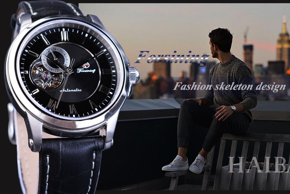 Forsining Kişi Saatı Skeleti Moda Dizaynı Təsadüfi Top Marka - Kişi saatları - Fotoqrafiya 2