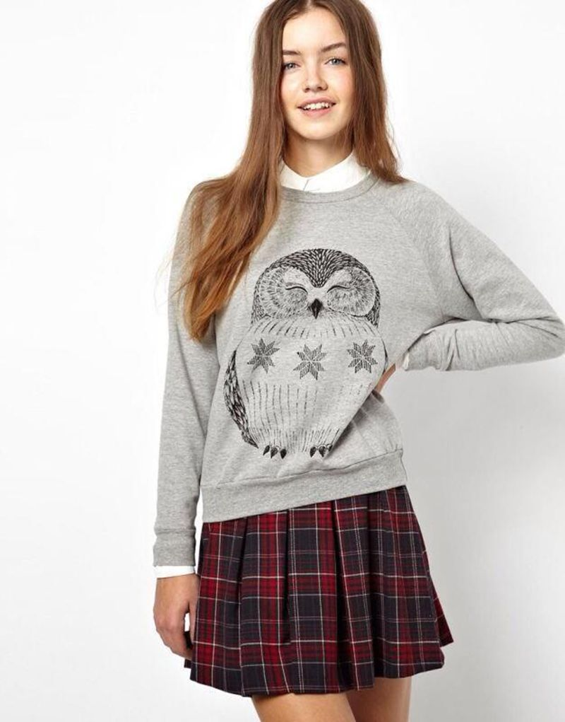 The spring of 2016 the new European and American wind owl printing design round neck long sleeve clothes Free shippingSK29