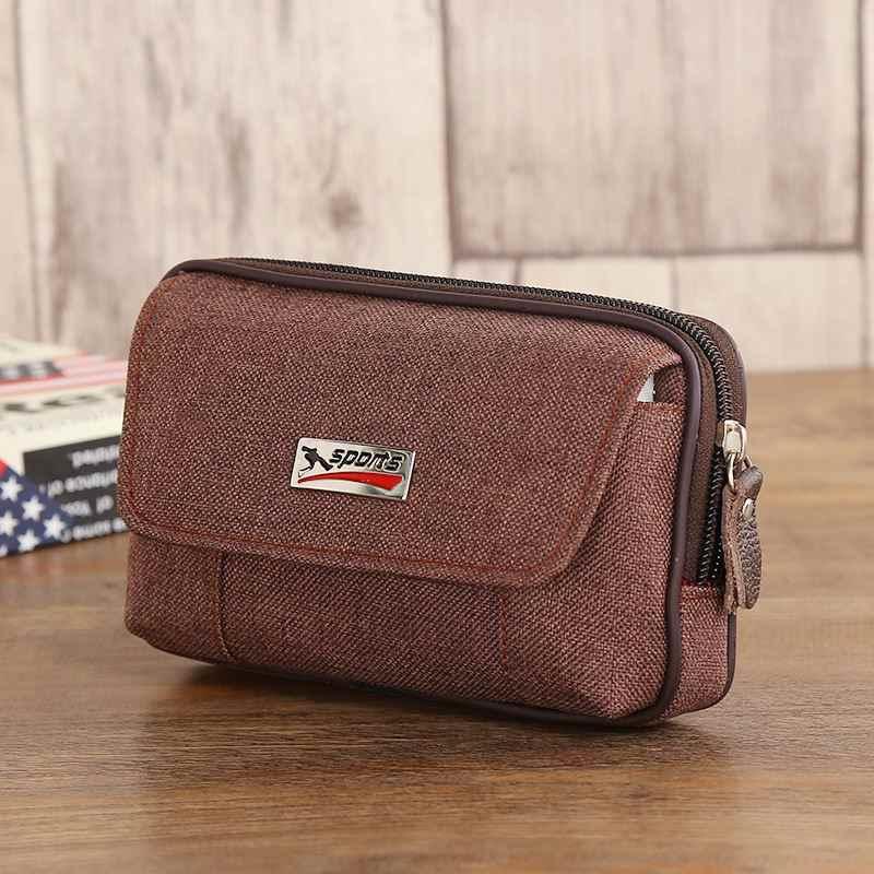 Erkekler için Fanny paketi cep telefonu için erkek gri siyah kahve tuval fermuarlı bozuk para cüzdanı çanta çanta rahat bel paketi adam çanta çantalar