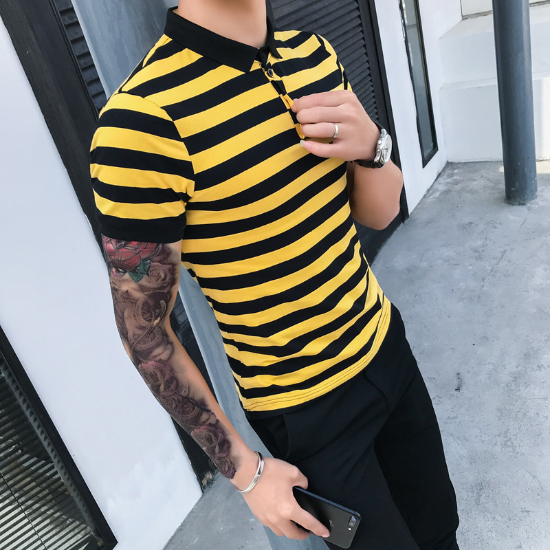 2019 Men Fashion Short Sleeve Striped   Polo   Shirt Men Slim Fit Business Casual Streetwear   Polos   Para Hombre   Polo   Homme Eden Park