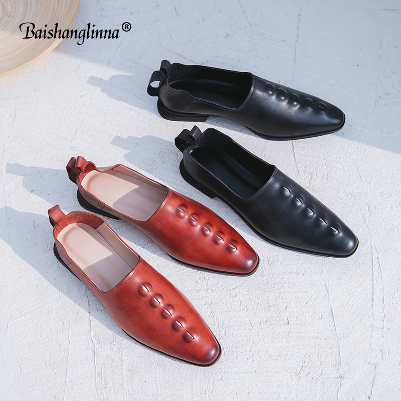 2018 Women Shoes Genuine Leather Loafers Women Solid Colors Casual shoes calf leather Handmade Soft Comfortable Shoes plus size muyisexi solid genuine leather with 3d flower loafers sneakers flat height increase casual women shoes gray black plus size bs01