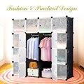 iKayaa US UK FR Stock Multi-use Clothes Closet Wardrobe Living Room Cabinet DIY Cloth Shoes Storage Organizer Furniture