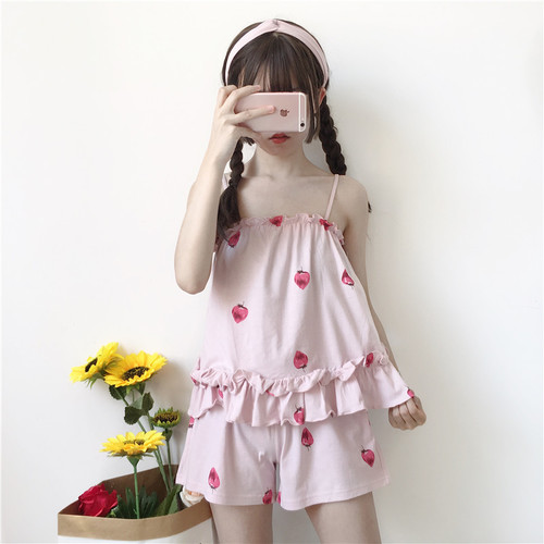 667f19bbed2c The best-selling Japanese Summer New Super cute strawberry print suspenders  shorts suit pajamas Women kawaii Sleepwear