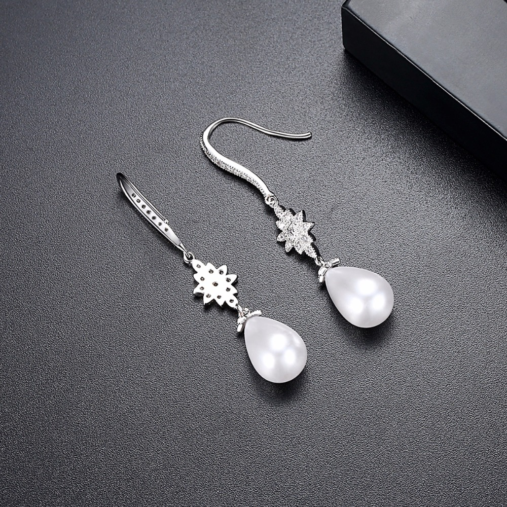 LUOTEEMI New White Gold Color Earring With Clear CZ Stone And White Imitation Pearl Drop Dangle For Women Elegant Earring Bijoux in Drop Earrings from Jewelry Accessories