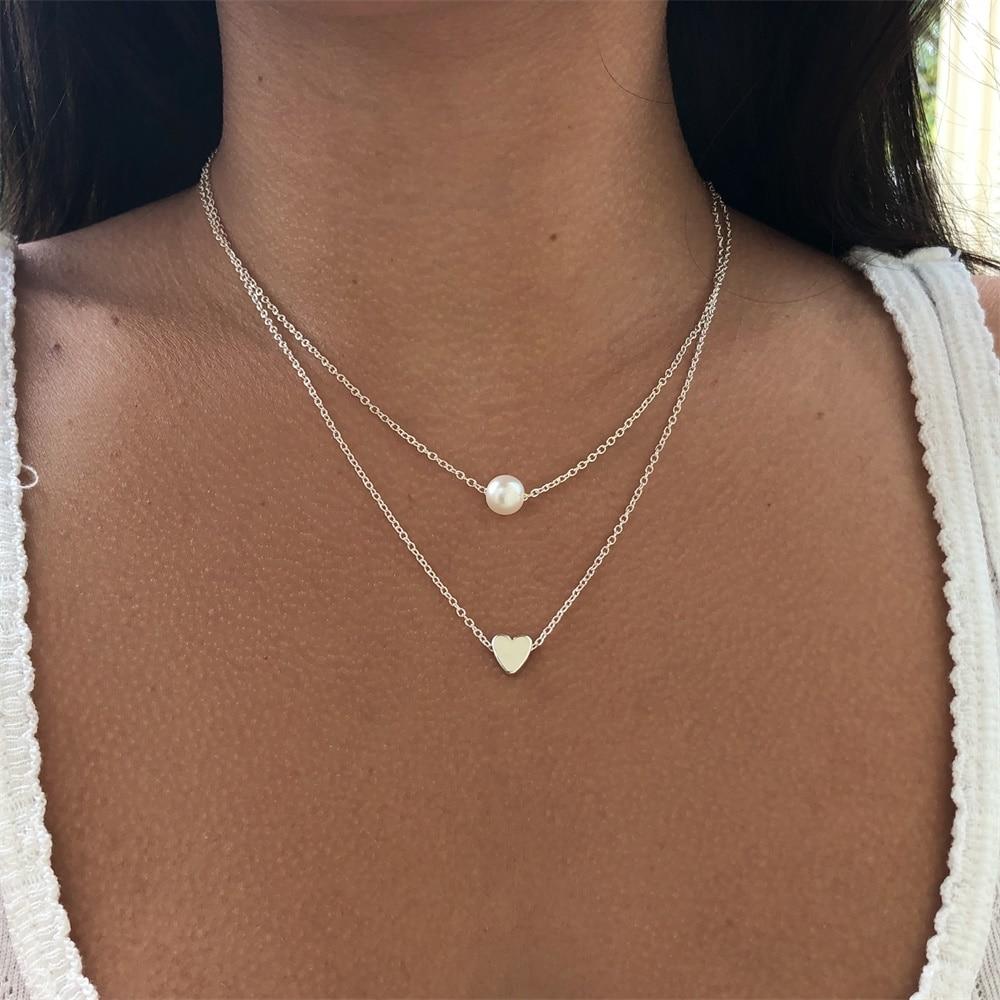 Ailend mode perle amour Double couche collier accessoires femmes collier Bijoux cadeaux