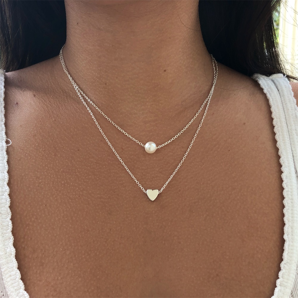 VKME Fashion Pearl Love Double Layer Necklace Accessories Women Necklace Bijoux Gifts