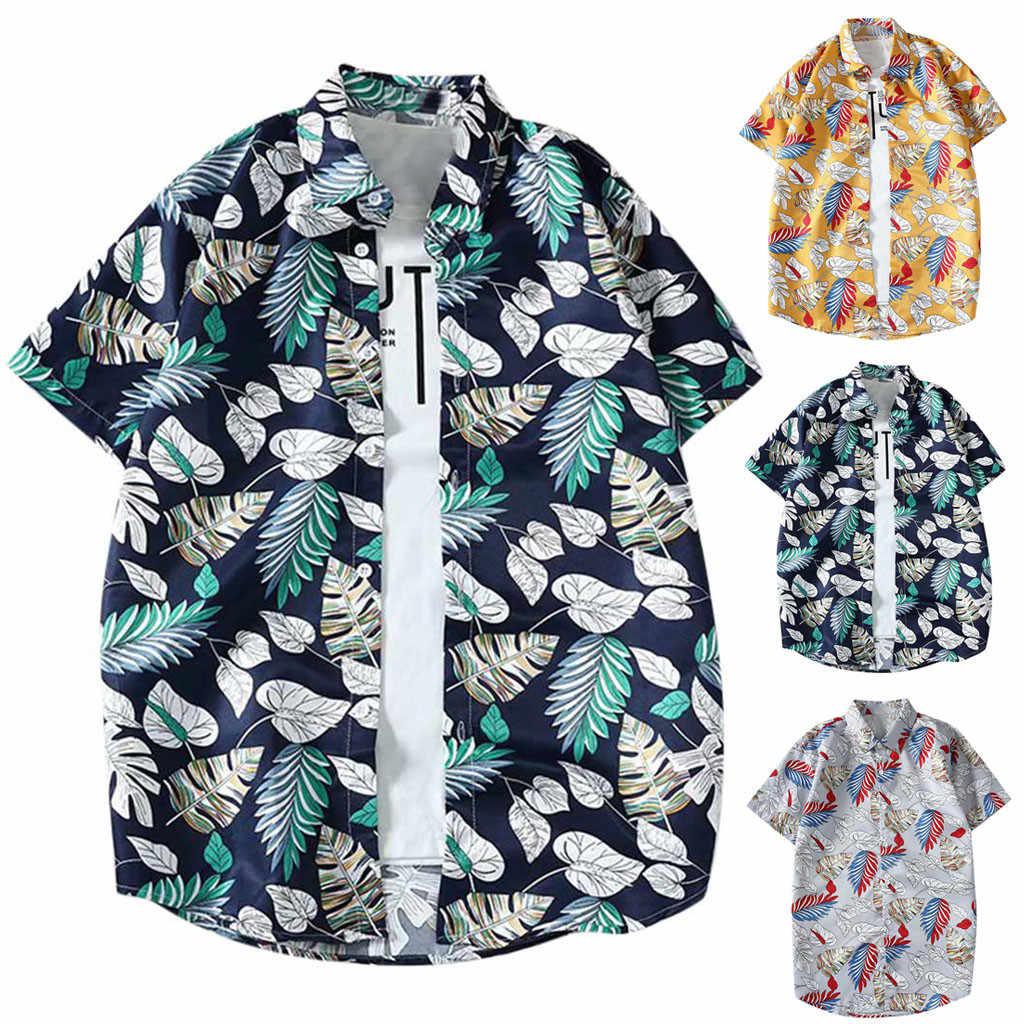 Пляжная гавайская рубашка тропическая Летняя мужская одежда с коротким рукавом Повседневная хлопковая рубашка модный принт рубашка с коротким рукавом Топ Блузка
