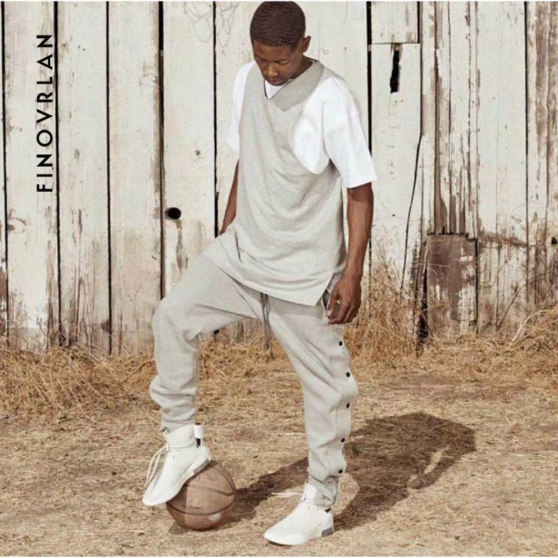2019 Side Button Sweatpants Hip Hop Kanye West Casual Jogging Pants Loose Fit Terry Cotton Trousers Streetwear