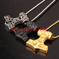 Trendy Cool Stainless Steel Thor's Viking Hammer Mjolnir Pendant Charm Men Silver Gold Black Tone Necklace Free Box Chain