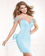 Dressgirl Türkis Cocktailkleider 2017 Mantel Kappen-hülsen Durchsichtig Satin Perlen Bogen Short Mini Homecoming Kleider