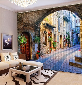 Custom Any Size 3D Curtain Bedroom Living Room Kitchen Home Window Curtains Retro, Buildings, Alleys Blackout Curtain Fabric