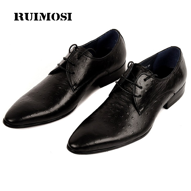 RUIMOSI Formal Luxury Brand Man Dress Wedding Shoes Genuine Leather Designer Male Oxfords Round Toe Men's Ostrich Footwear DF87
