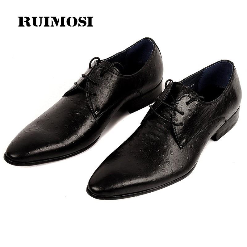 RUIMOSI Formal Luxury Brand Man Dress Wedding Shoes Genuine Leather Designer Male Oxfords Round Toe Men's Ostrich Footwear DF87