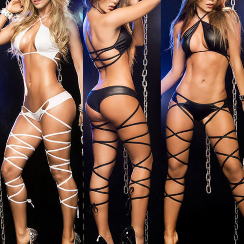 Women HOT Sexy Bandage Pole Dancing Wear Bandage Lingerie Sleepwear G-String Set 2019 New Fashion High Quality