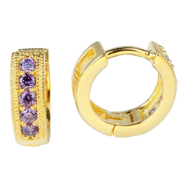 1 пара золотой отделкой 925 стерлингового серебра обруча леди ювелирные изделия E060