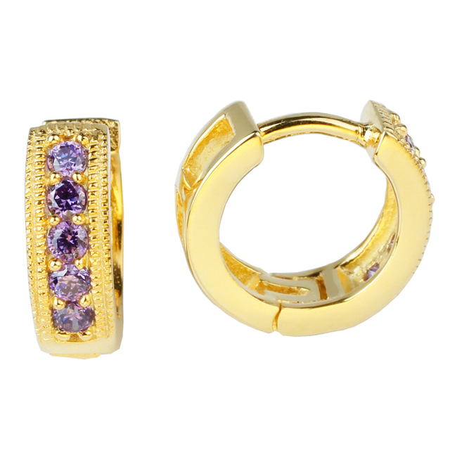 1pair Gold Finish 925 Sterling Silver Hoop Earrings Lady Jewelry  E060