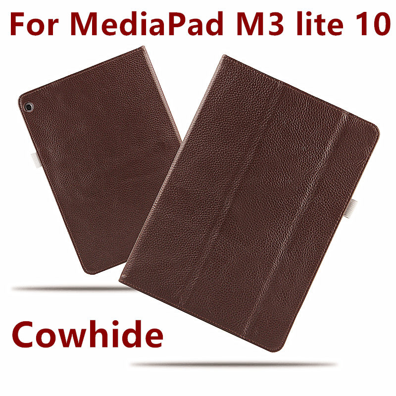 Case Cowhide For Huawei MediaPad M3 lite 10 Covers Protective Protector Genuine Leather PU M3 Youth BAH-W09 BAH-AL00 Tablet case crystal protective case for nds lite